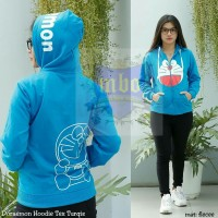Jaket Wanita Doraemon Text Turqise (sweater, jumper, hoodie, jeket)