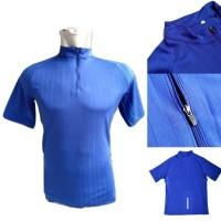 BIRU 01# Kaos Zipper Baju Olahraga Training Adidas Nike Polos Import