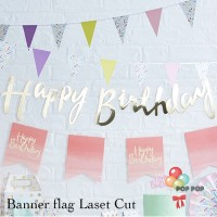 Banner Bunting Flag Happy Birthday Laser Cut Gold Latin
