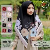Jilbab Segi Empat Satin Motif Bunga - seri : AZARA 03
