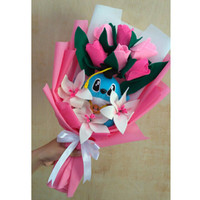 Buket bunga flanel mix tulip & lily boneka wisuda stitch free custom