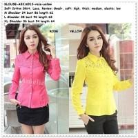 Baju Atasan Kemeja Wanita Pink Yellow Blouse Korea Import AB316913