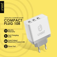 UNEED Smart Wall Charger Adaptor 3 USB Port Fast Charging 2.4A UCH108