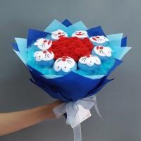 Buket Bunga Flanel Doraemon kado wisuda