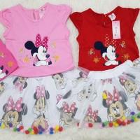 Baju Setelan Dress Anak Bayi Perempuan Stelan Rok Minnie Mouse Tutu