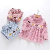 Dress Kemeja Impor Anak Perempuan Garis Line Characters