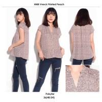 H&M Vneck Print Peach Blouse - Baju Atasan Kerja Casual Lengan Pendek