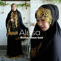 Mukena Bali Seri Hitam Renda Gliter by Alusa