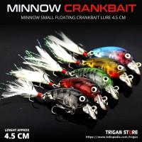 Umpan Pancing Crank Bait Ikan Buatan Mini Minnow Fish Kail Bulu 4,5 cm
