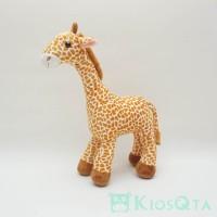Boneka jerapah giraffe tall bulu coklat muda L nov