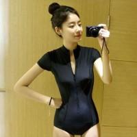 bikini long one piece black baju renang lengan bikini polos murah busa