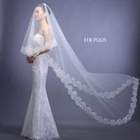 Kerudung Slayer Pengantin Modern- Veil Pesta Wedding Panjang 3m-HRP005