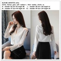 Baju Atasan Kemeja Putih Blouse Wanita Korea Import Tunik AB434733