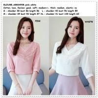 Baju Atasan Pesta Blouse Wanita Korea Import AB834938 Pink White Putih