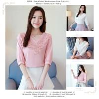 baju atasan pink putih mix lace cantik