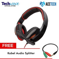 Acetech Headphone Headset Gaming + Microphone Tactical Free Kabel