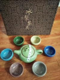 Teko + 6 cangkir teh keramik rainbow gelas chinese tea set teapot cup