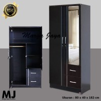 Lemari pakaian 2 pintu hitam minimalis + cermin + laci