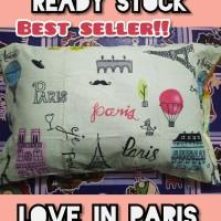 LOVE IN PARIS sarung bantal tidur bahan halus grade A