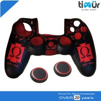 GOD Of WAR Silikon Silicone Cover Stik Stick PS4 + Thumb Grips Merah