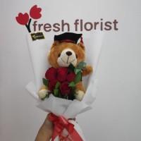 Hand Bouquet Buket bunga Wisuda/ bunga mawar - buket boneka