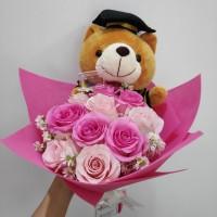 Hand Bouquet Buket bunga Wisuda/ bunga mawar - buket boneka wisuda