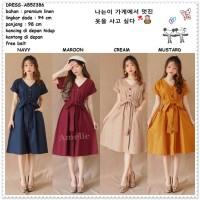 Long Dress Midi Korea Bangkok Import AB52386 Blue Cream Yellow Biru