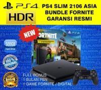 PS4 SLIM 500GB BUNDLE FORTNITE GARANSI RESMI SONY