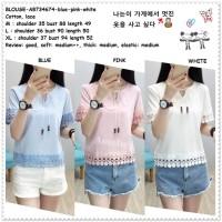 Baju Atasan Blouse Korea Import AB734674 Blue Pink White Biru Putih