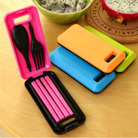 Sendok garpu travel portable set alat makan fleksibel lipat - HKN030