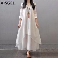 VISGEL MAXI Dress Panjang Kaftan Gamis Modern Bahan Rayon Adem -Putih