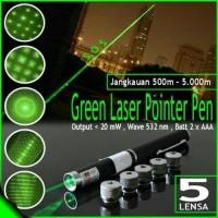 Senter Hijau Green Laser Pointer 5 Mata Pen Laser Beam
