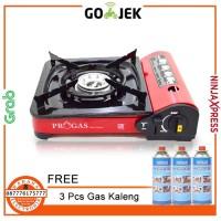 Kompor Portable Progas 2 in 1 (Gas Kaleng Dan Elpiji) + 3 Gas Kaleng