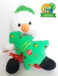 Boneka Natal Salju Snowman Hijau Green Syal Music 17H' BN004015