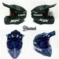 Helm Jpx Cross Black Dof Solid Plus Kacamata Goggle Osbe Pelangi