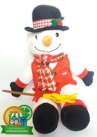 Boneka Salju Snowman White Natal Christmas W/Syal Music 17H BN004015