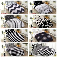 3KG BEDCOVER SET FATA QUEEN 160X200 FLAT MOTIF BLACK AND WHITE