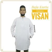 Baju Koko Muslim Kurta Gamis Jubah Pakistan Pria Putih Polos Visan