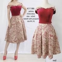 Sabrina ALine Dress Velvet rok JAC 3warna Pesta NATAL Import K1186