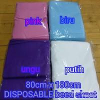 disposable bed sheet/sprei sekali pakai tanpa karet di pinggiran
