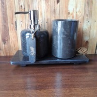 tempat sabun dispenser soap batu alam set