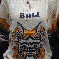 Terkini Baju Bali Unisex Motif Barong Dasar Putih Corak Warna