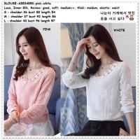 Baju Atasan Brukat Lace Blouse Korea Import Putih White Pink AB534850