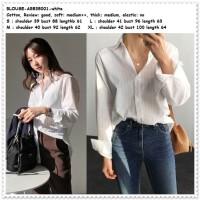 Baju Atasan Kemeja Wanita Putih Blouse Korea Import AB535001 Tunik