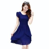 Midi Dress Sifon Tangan Pendek Gaya Korea Model Terbaru - xshop Indira