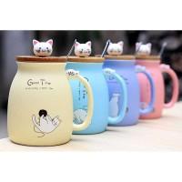 Gelas Cangkir mug Keramik Model Kitten Milk Good Time 450ML - 65846