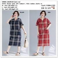 Baju Long Dress Midi Kotak Korea Import AB635165 Black Red Merah Hitam
