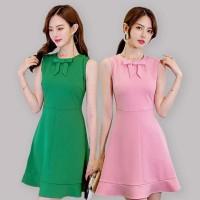 Dress Slim Tanpa Lengan Warna Polos dengan Pita Gaya Korea