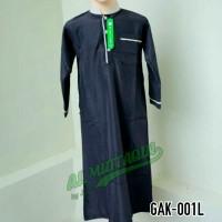 Baju Koko Jubah Gamis Muslim Hitam Anak Laki Lengan Panjang GAK 001L
