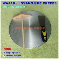 Wajan / Loyang Kue Crepes Polos 30cm + Perata dan Kapi Spatula